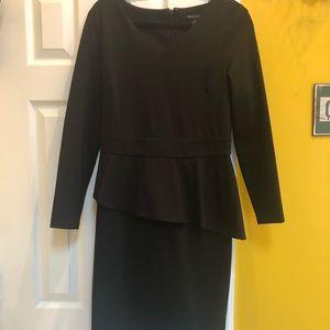 Peplum Sleek black dress. Sz 8